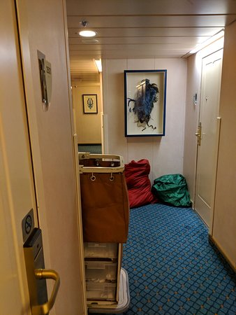 Vision of the Seas: Front of room being used as a temp storage space half of the time. Inside the bags are dirty towels of others. #2520