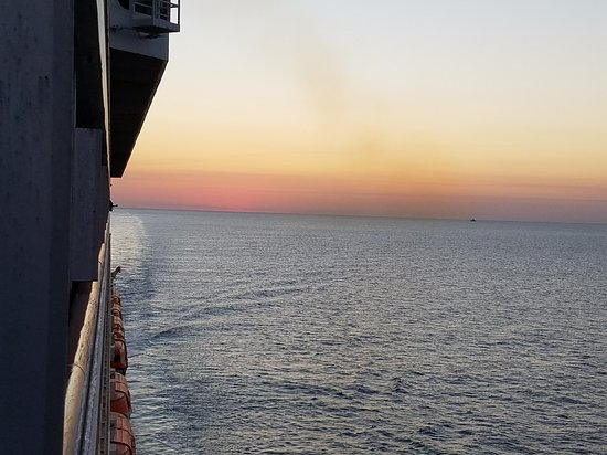 Carnival Conquest: Nice view of the sunset from our balcony.