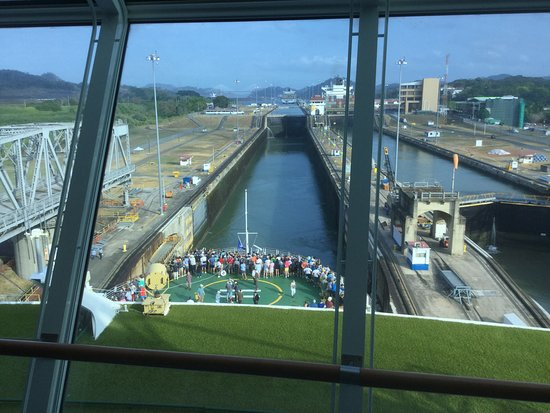 Celebrity Infinity: Transit of the Panama Canal from the Constellation Lounge. PA volume was a