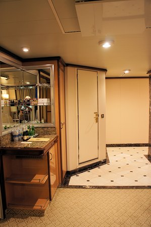 Island Princess: Stateroom entrance and door to sep. WC