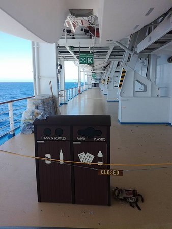 Norwegian Sun: Many, many pictures of the musters being roped off.  Deck 6, which is designated for walking, jogging and muster stations was under construction for the majority of the cruise.