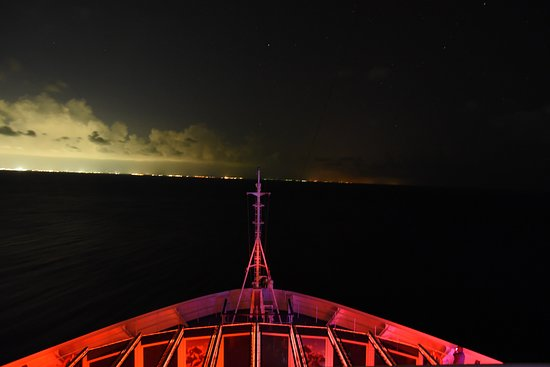Carnival Victory: Leaving Cozumel we got a beautiful night view of the boat and Cancun.