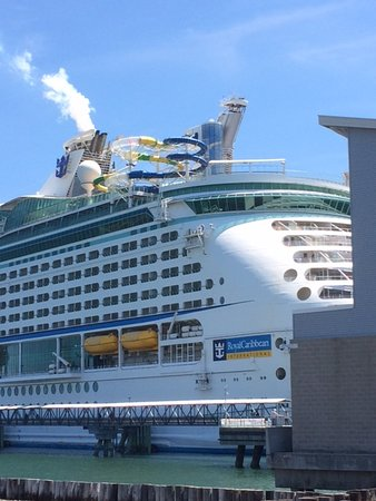 Adventure of the Seas: Ship view from ashore showing water shutes overhanging the Ship