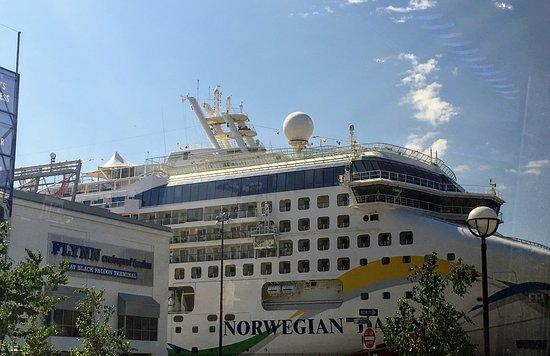Norwegian Dawn: Boston port getting ready to leave