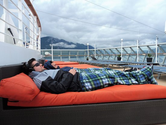 Celebrity Infinity: Lounging on the upper deck