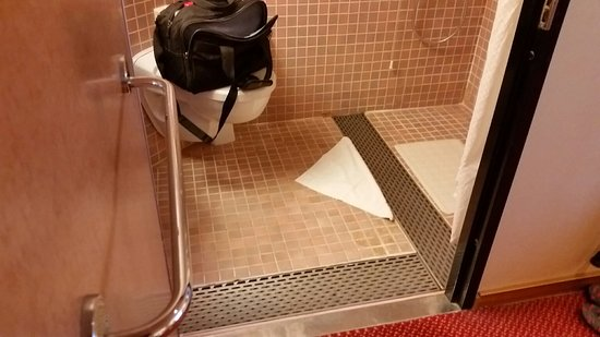 Carnival Triumph: View of floor area of bathroom, we found the drain arrangement worked even