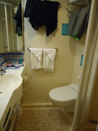 Adventure of the Seas: Bathroom view - sink & toilet