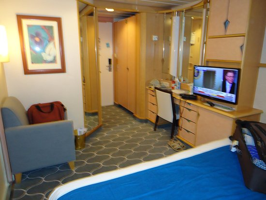 Adventure of the Seas: Other view of cabin from the bed side rather than the entry point.