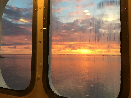 Grandeur of the Seas: Sunrise through the cabin window