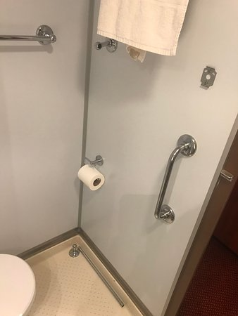 Carnival Sensation: Broken towel rack that was left there by housekeeping.