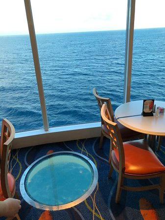 Celebrity Summit: This is the view from the buffet. Note the floor porthole looking straight