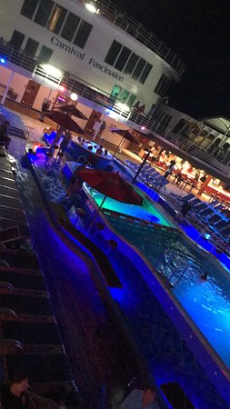 Carnival Fascination: The ship pool deck at night