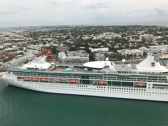 Rhapsody of the Seas: View of the ship from the helicopter tour in Key West