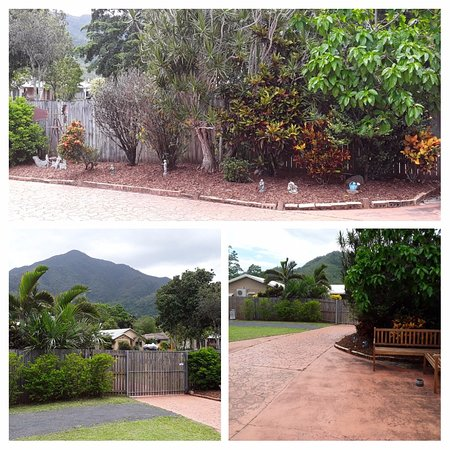 Different angles of the garden and mountain views.