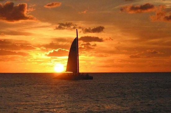 Solnedgang sykkel og båt tur