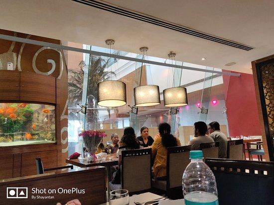 """Inside of """"Something Fishy"""" non veg restaurant in 1st Floor"""