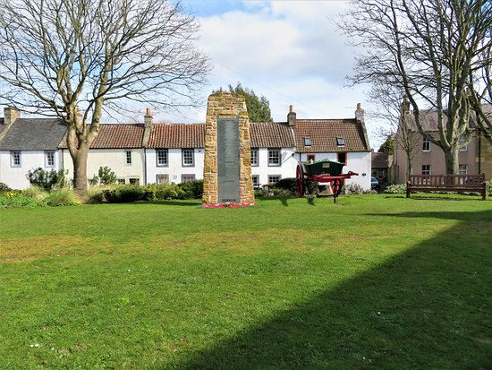 Falkland, UK: Brunton Green  with memorial