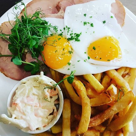 Home cooked ham, local duck eggs, hand cut chips