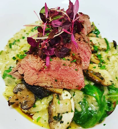 Locally shot venison served with a spinach and mushroom risotto