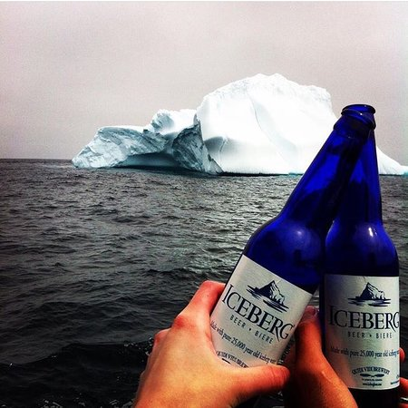 Iceberg Quest Ocean Tours: Serving local, Quidi Vidi Iceberg Beer onboard. Made from 12,000 year old iceberg water. Experience the ancients ... your memories will last a lifetime! These blue bottles are extremely popular with our guests. Many a times the empties depart with our Iceberg Questers.