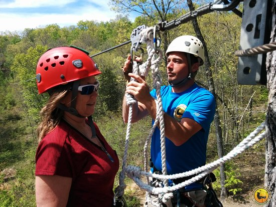 Mammoth Cave's Canopy Zipline Tour: Jason checking connections for Maria