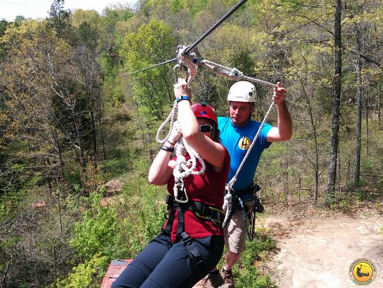 Mammoth Cave's Canopy Zipline Tour: Maria begins zipping