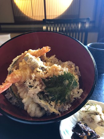 The Tempura Donburi was delicious. It had prawns and a selection of vegetables in the tempura. The tempura was ultra light and crispy.