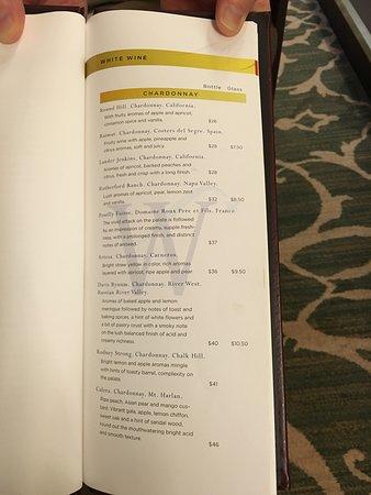 Star Legend: White wine page from restaurant list