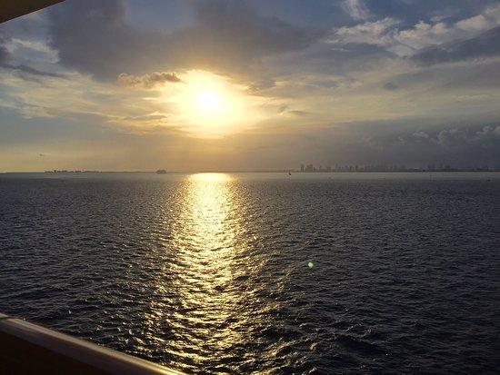 Norwegian Escape: sail away Miami view from balconey