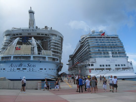 Regal Princess: Seven Ships in port in St. Maartens--tight quarter and a lot of guests in town