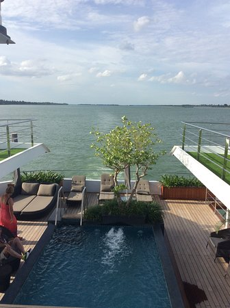 Scenic Spirit: Looking from the top deck across the pool to the Mekong River