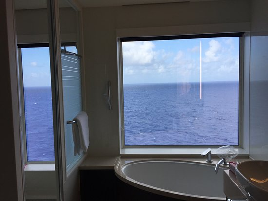 Norwegian Escape: This is the view from the bathroom of the Haven's Deluxe Family Suite.