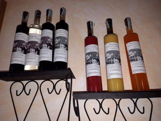 Da Maria: Homemade liqueurs on display.