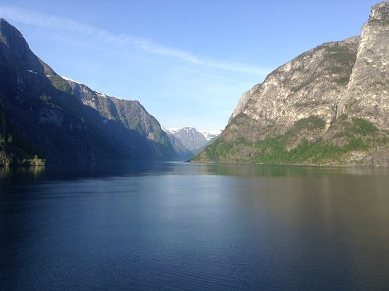 Viking Sea: Sailing up the Fjord to Flam Norway. View from our verandah
