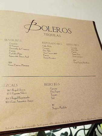 Empress of the Seas: Boleros Drink Menu