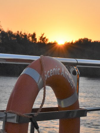 Scenic Amber: Sunrise on the sun deck of the ship.