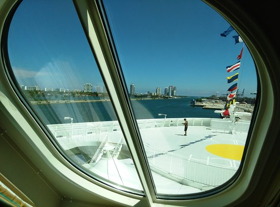 Norwegian Escape: view from the cabin window.