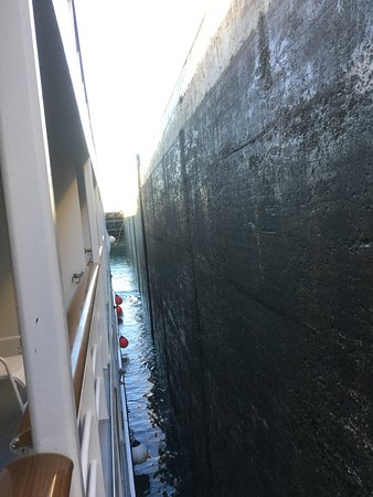 Pearl Mist: Side of the lock close to the ship as the lock empties to tak us downstream