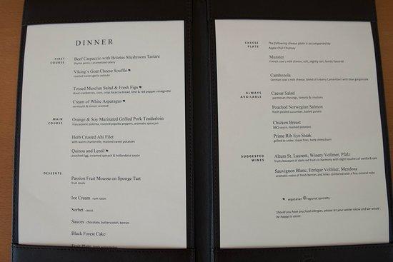 Viking Ingvi: Dinner menu