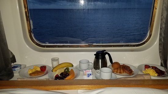Empress of the Seas: Breakfast in bed while watching the sunrise