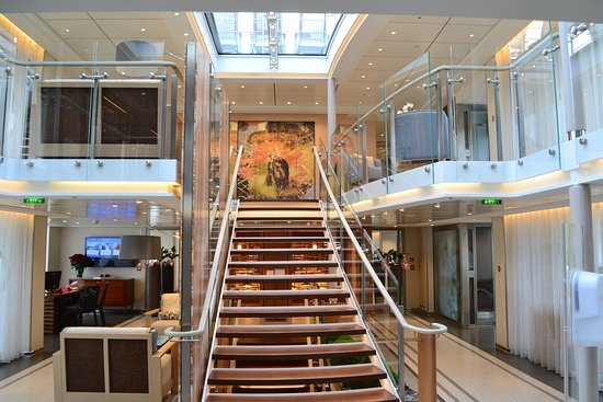 Viking Alruna: The grand staircase on board the Alruna