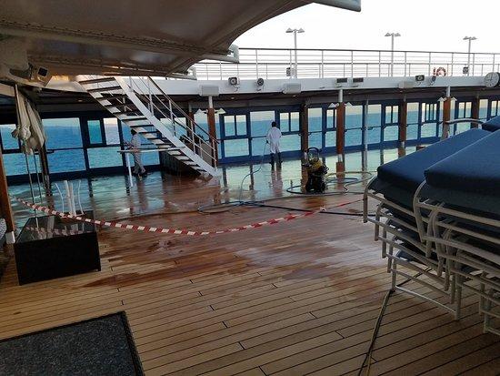 Sirena: Closed pool deck.
