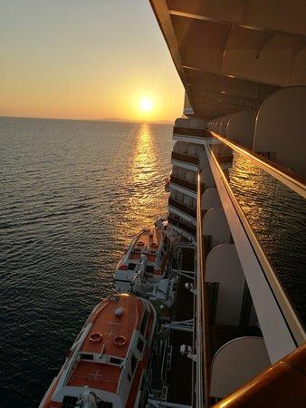 Koningsdam: Sun setting view from Deck 8 balcony