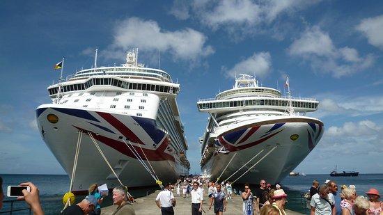 Britannia (on left) docked next to Azura at Grenada