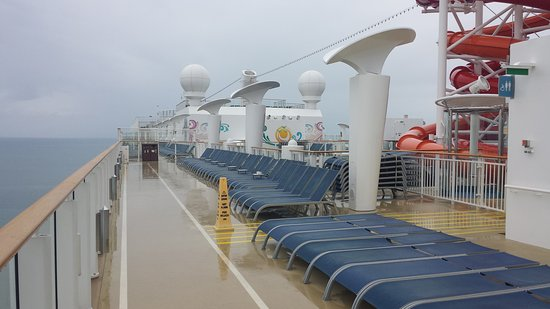 Norwegian Getaway: Top deck.  Plenty of seats available on rainy days!