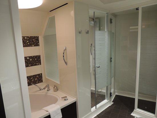 Norwegian Escape: Bathroom and shower area of cabin 9706.