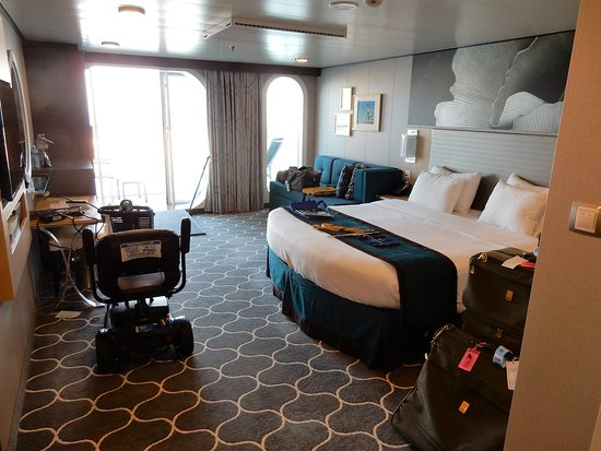 Harmony of the Seas: my cabin --junior suite ,ADA standard USA.. holds scooter easily