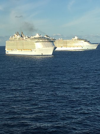 Harmony of the Seas: After lining up side by side for pictures. The Harmony watches sisters head in other directions