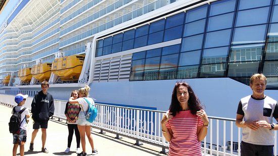 Photo of me about to embark on the Ovation of The Seas at the port of Fremantle. This is the first time such a big ship has come to Australia.