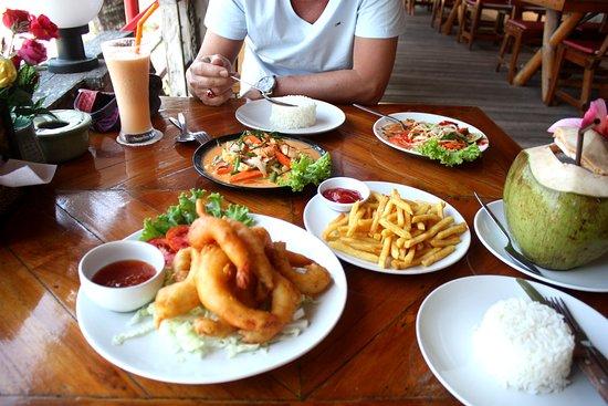crevettes frites  et french fries